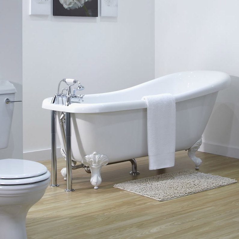 Old London - Chrome Traditional Roll Top Bath Pack - LDW002 profile large image view 2