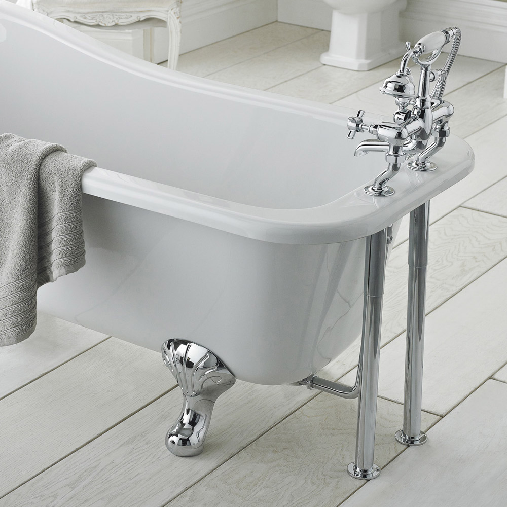 Old London - Chrome Traditional Roll Top Bath Pack - LDW002 profile large image view 3