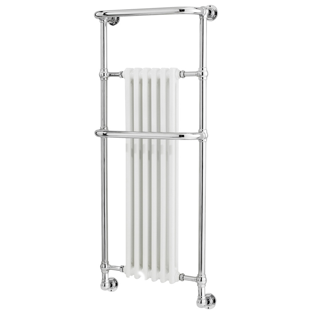 Old London - Chrome & White Wall Mounted Tilbury Radiator - 1365 x 575mm - LDR010 profile large image view 1