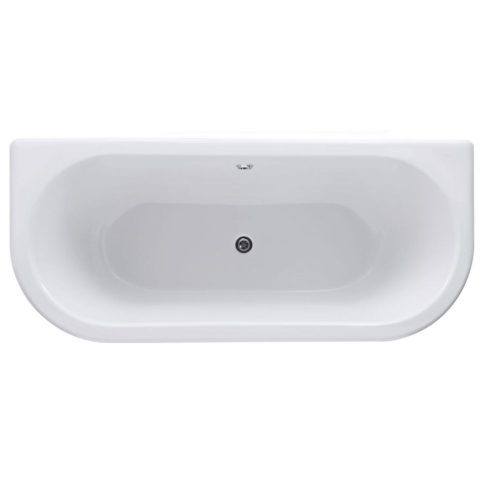 Old London - Kenton 1690 x 745 D Shaped Back To Wall Bath with Chrome Leg Set additional Large Image