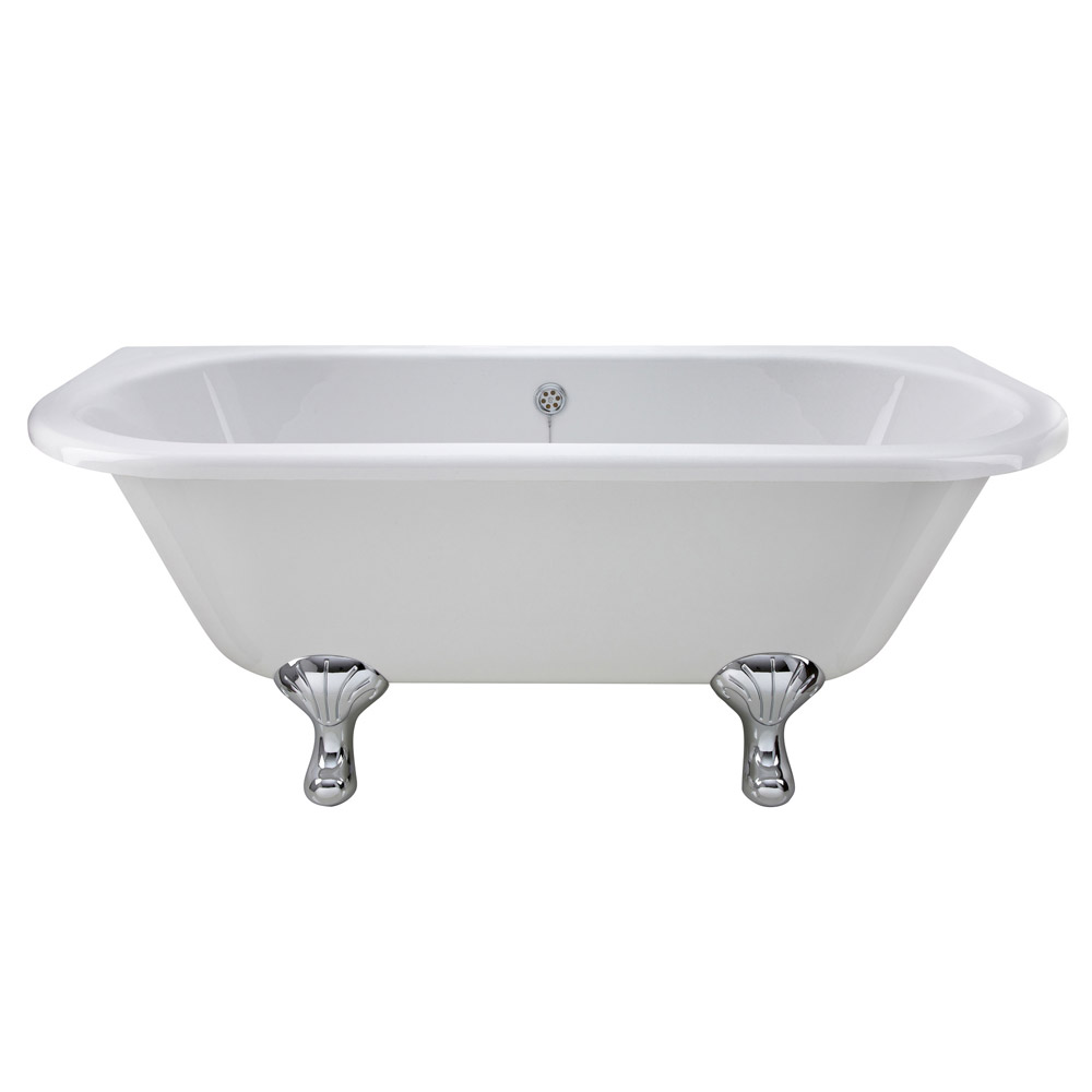 Old london kenton 1690 x 745 39 d 39 shaped back to wall bath with chrome leg set at victorian - Image of bath room ...