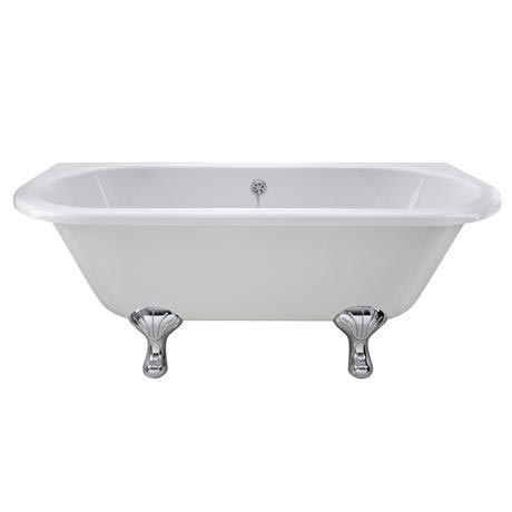Old London - Kenton 1690 x 745 D Shaped Back To Wall Bath with Chrome Leg Set
