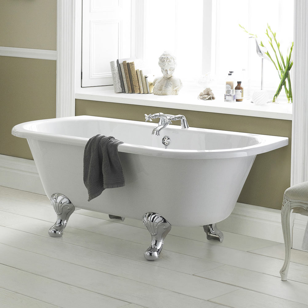 Old London Kenton 1690 x 745 'D' Shaped Back To Wall Bath + Chrome Leg Set