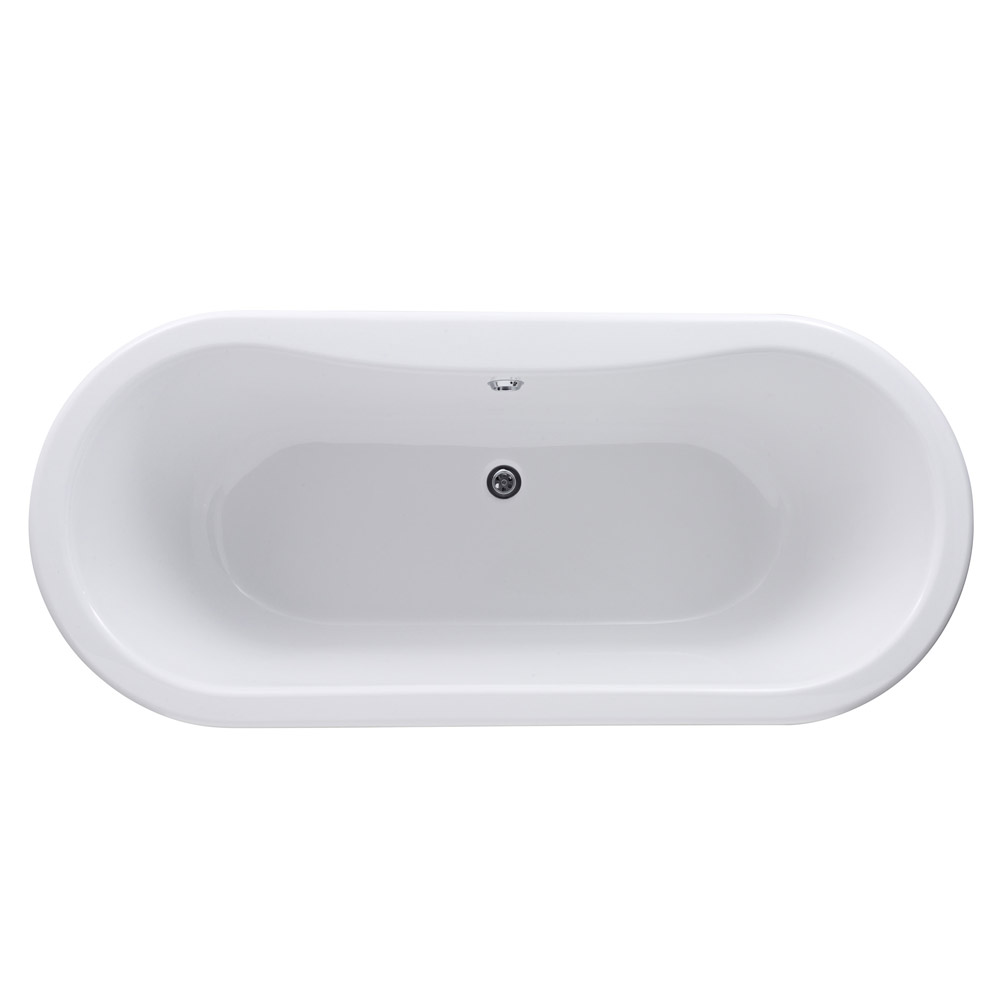 Old London - Kingsbury 1490 x 745 Double Ended Freestanding Bath with Chrome Leg Set profile large image view 2