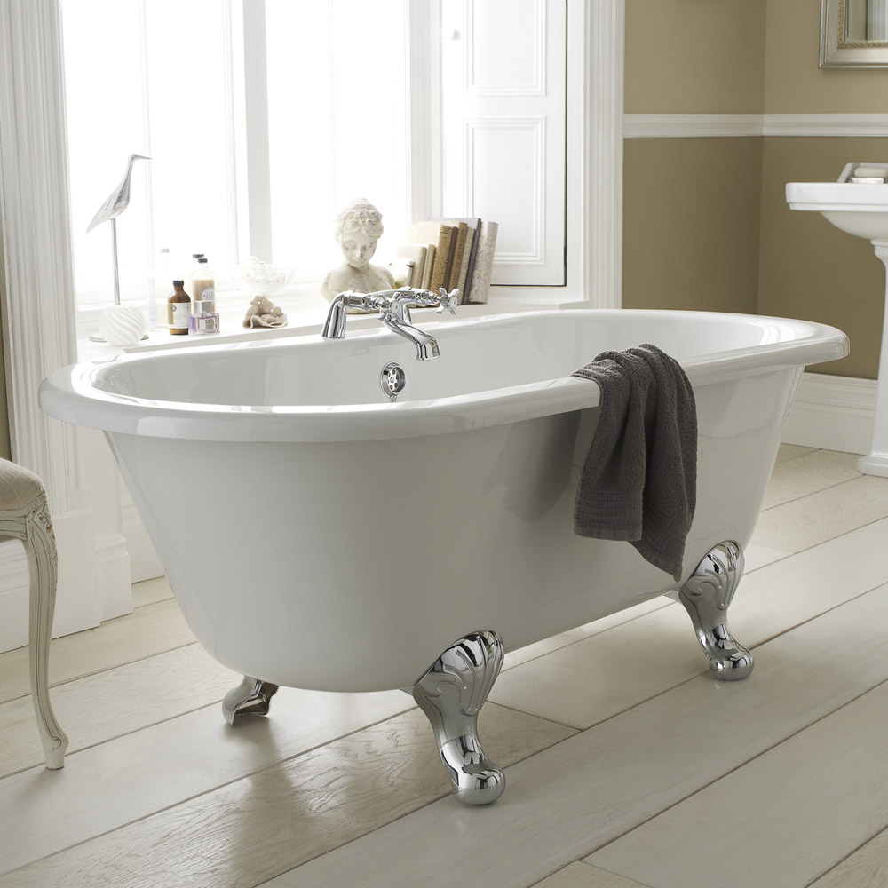 Old London - Kingsbury 1490 x 745 Double Ended Freestanding Bath with Chrome Leg Set Feature Large Image