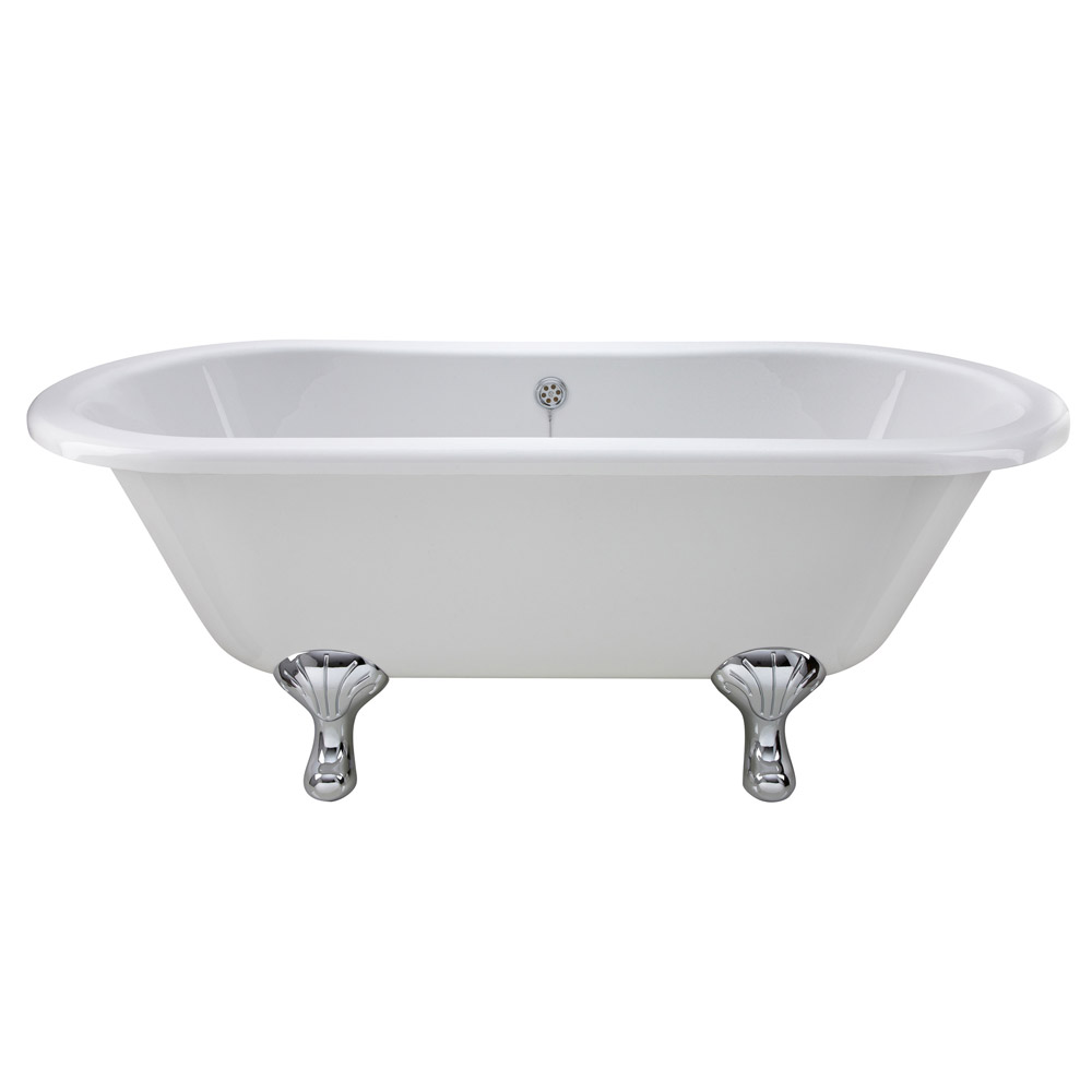 Old London - Kingsbury 1690 x 745 Double Ended Freestanding Bath with Chrome Leg Set profile large image view 1