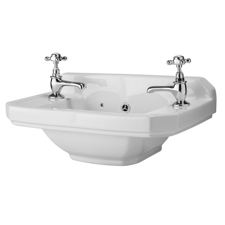 Old London - Richmond 515 x 300mm 2TH Cloakroom Basin - LDC829 Large Image