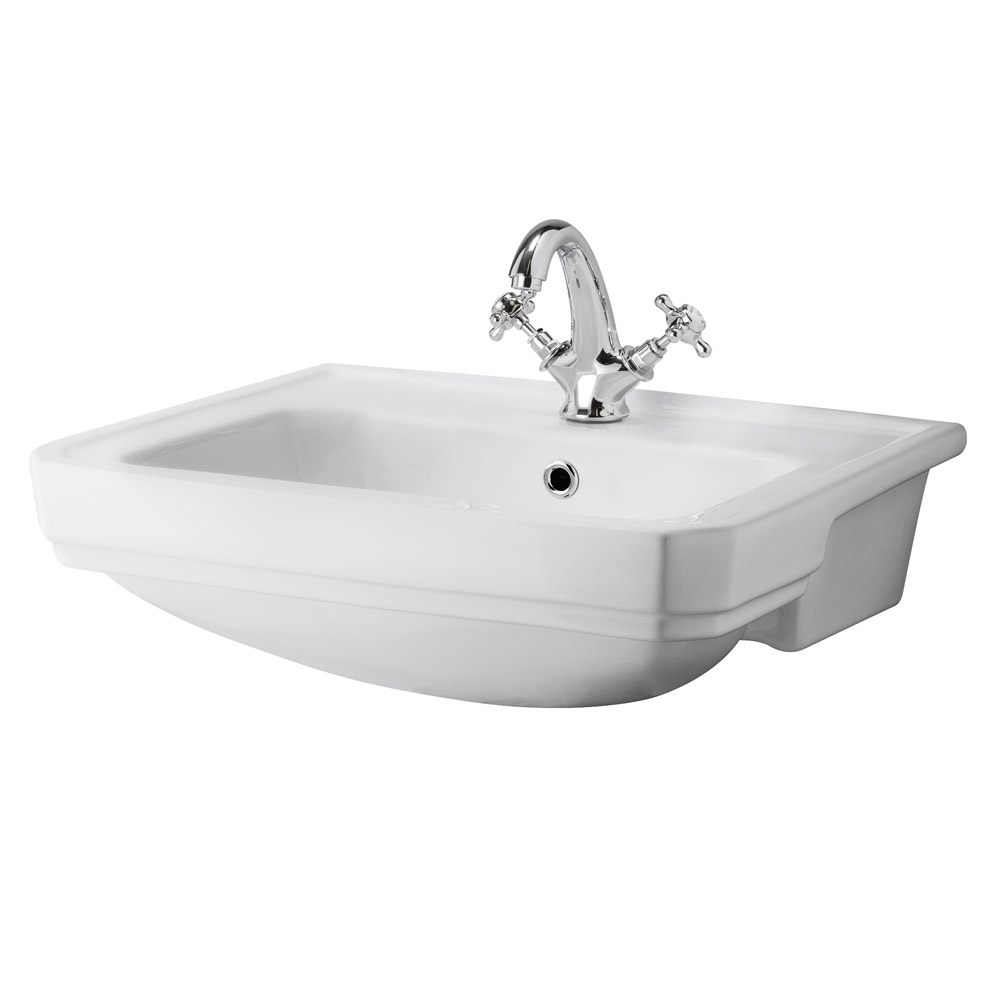 Old London - Richmond 560 x 450mm 1TH Semi Recessed Basin - LDC808A profile large image view 1