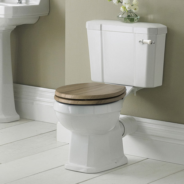 Old London Richmond Close Coupled Traditional Toilet inc Ceramic Lever Flush Profile Large Image