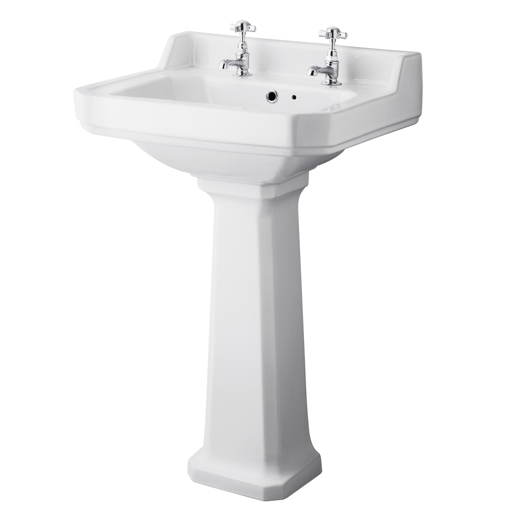 Old London - Richmond Traditional 2TH Basin & Pedestal - Various Size Options Large Image