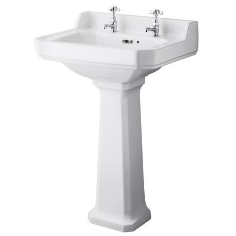 Old London Richmond Traditional 2TH Basin & Pedestal - Various Size Options