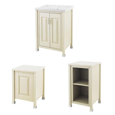 Old London Traditional 600mm Wide Cabinet Package - Ivory