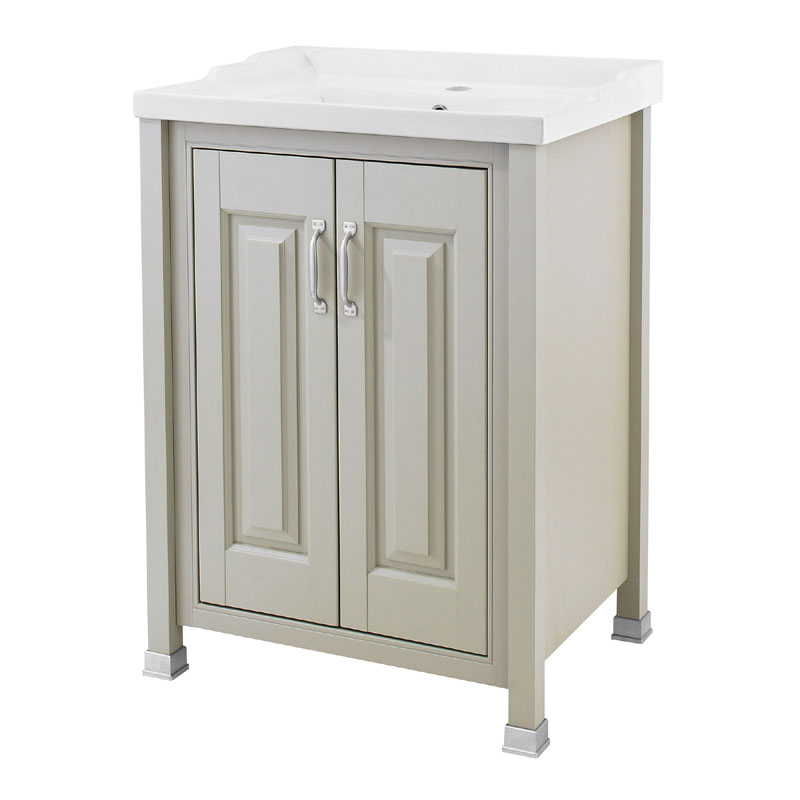 Old London - 600 Traditional 2-Door Basin & Cabinet - Stone Grey - LDF403 Large Image