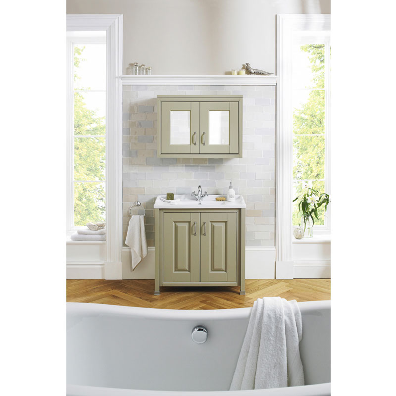 Old London - 800 Mirror Cabinet - Stone Grey - NLV415 profile large image view 3