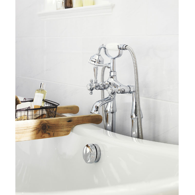 Old London - Chrome Victorian Bath Shower Mixer - LDN304 profile large image view 3