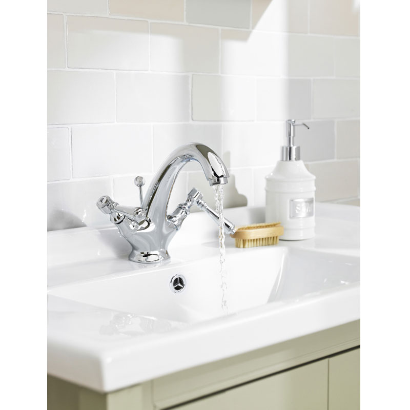 Old London - Chrome Victorian Mono Basin Mixer with Pop-Up Waste - LDN305 profile large image view 3