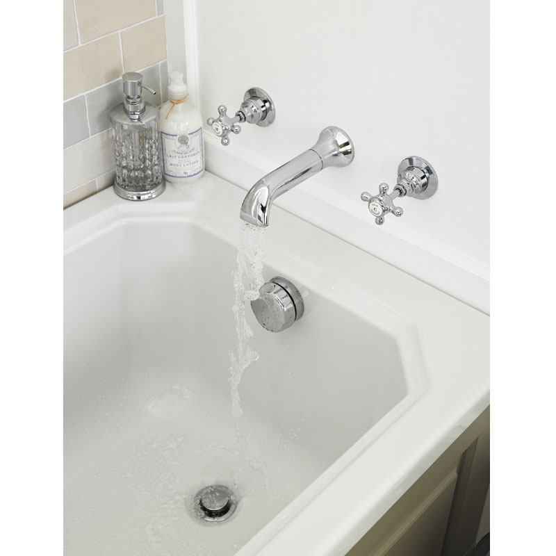 Old London - Chrome Edwardian Wall Mounted Bath Spout and Stop Taps - LDN319 profile large image view 2