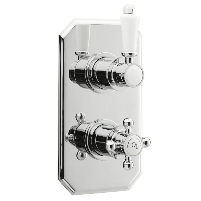 Old London - Chrome Traditional Twin Thermostatic Shower Valve - LDNV01 Large Image