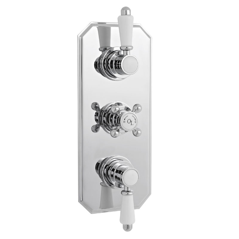 Old London - Chrome Traditional Triple Thermostatic Shower Valve - LDNV03 profile large image view 1