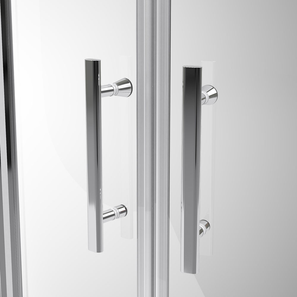 Coram - Optima Double Sliding Shower Door - Chrome - Various Size Options Feature Large Image