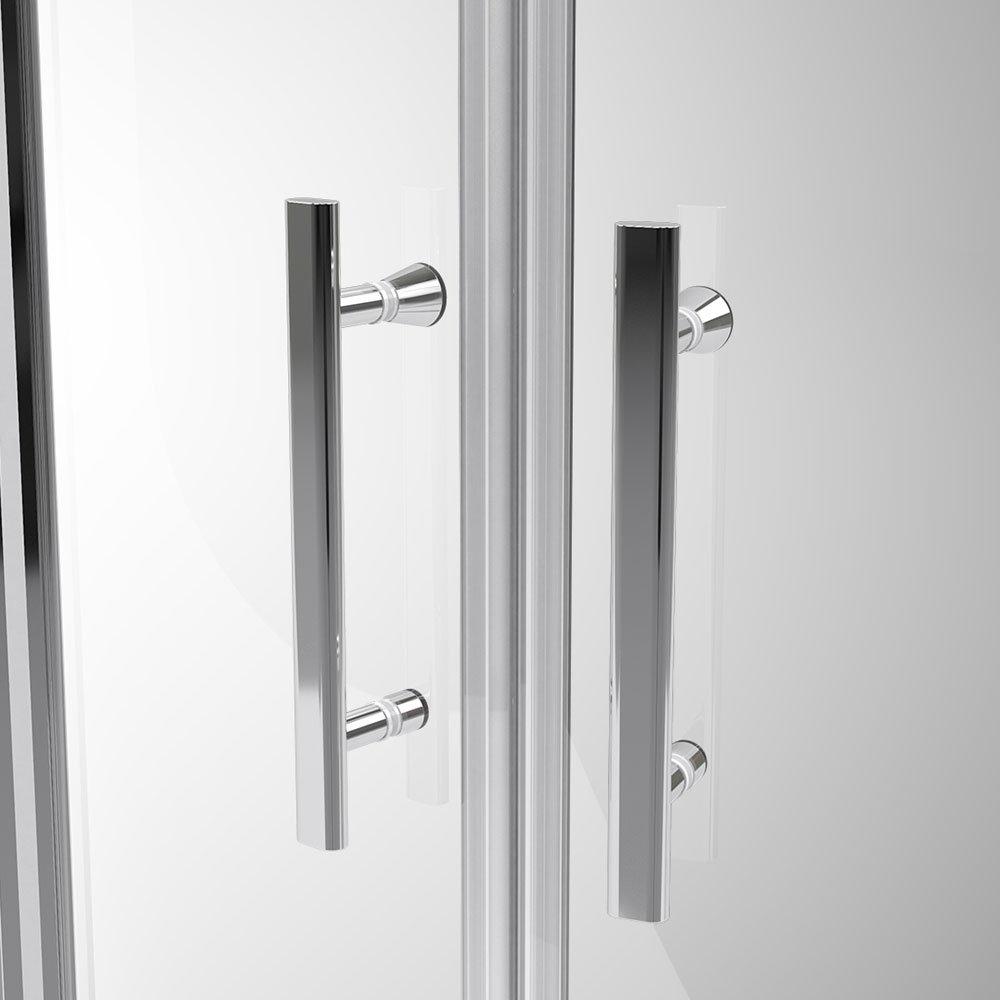 Coram - Optima Double Sliding Shower Door - White - Various Size Options Profile Large Image