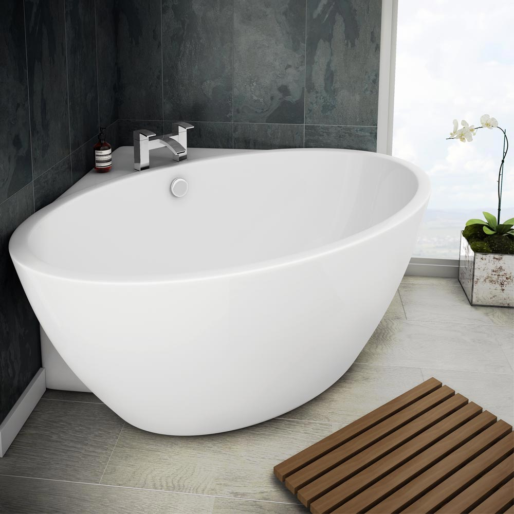 Orbit corner modern free standing bath victorian for Small baths 1200