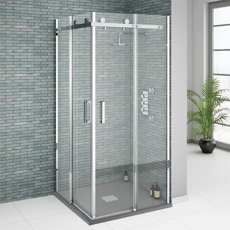 Orion Square Frameless Corner Entry Shower Enclosure - 800 x 800mm