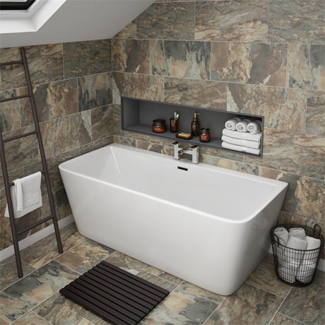 Orion Back To Wall Modern Square Bath (1700 x 750mm)