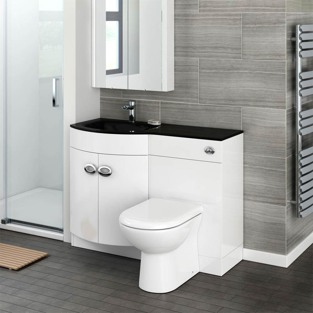 Orion Black Modern Curved Combination Basin and WC Unit - 1100mm Feature Large Image