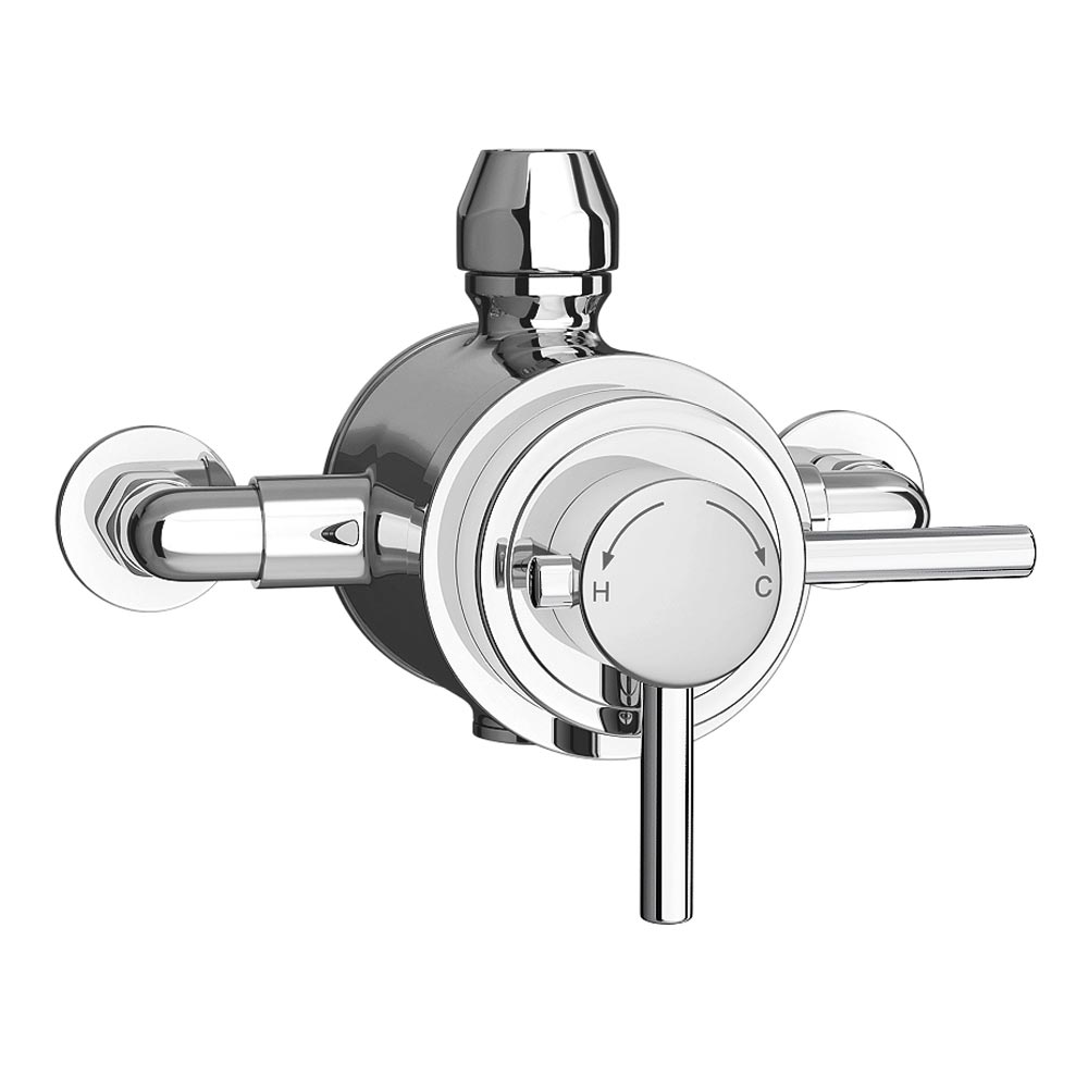 Orion Square Dual Concealed Thermostatic Shower Valve - Chrome Profile Large Image