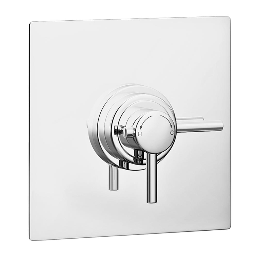 Orion Square Dual Concealed Thermostatic Shower Valve - Chrome Large Image