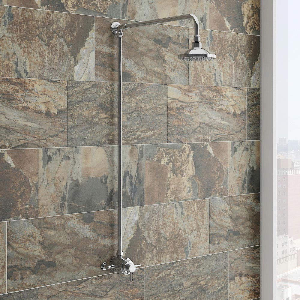 Orion Dual Exposed Thermostatic Shower Valve - Chrome profile large image view 3
