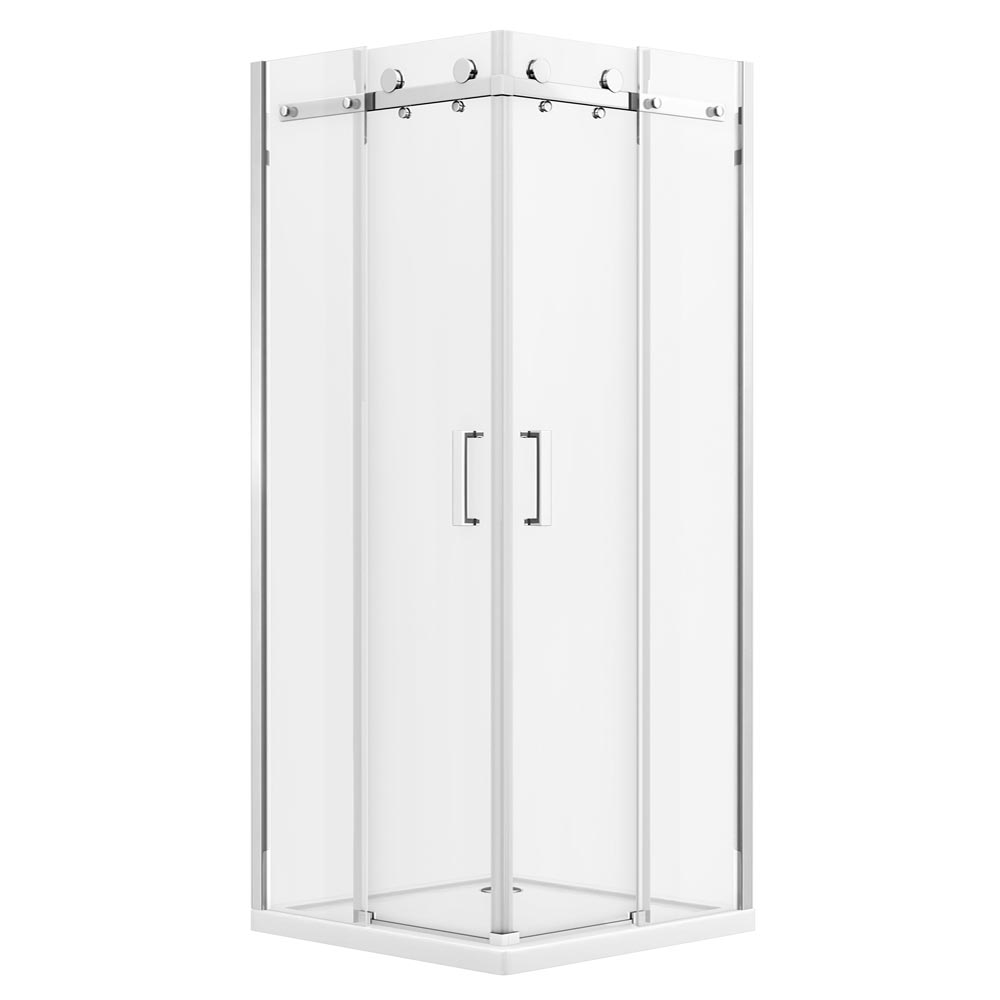 Orion Square 800 x 800mm Frameless Corner Entry Shower Enclosure profile large image view 2