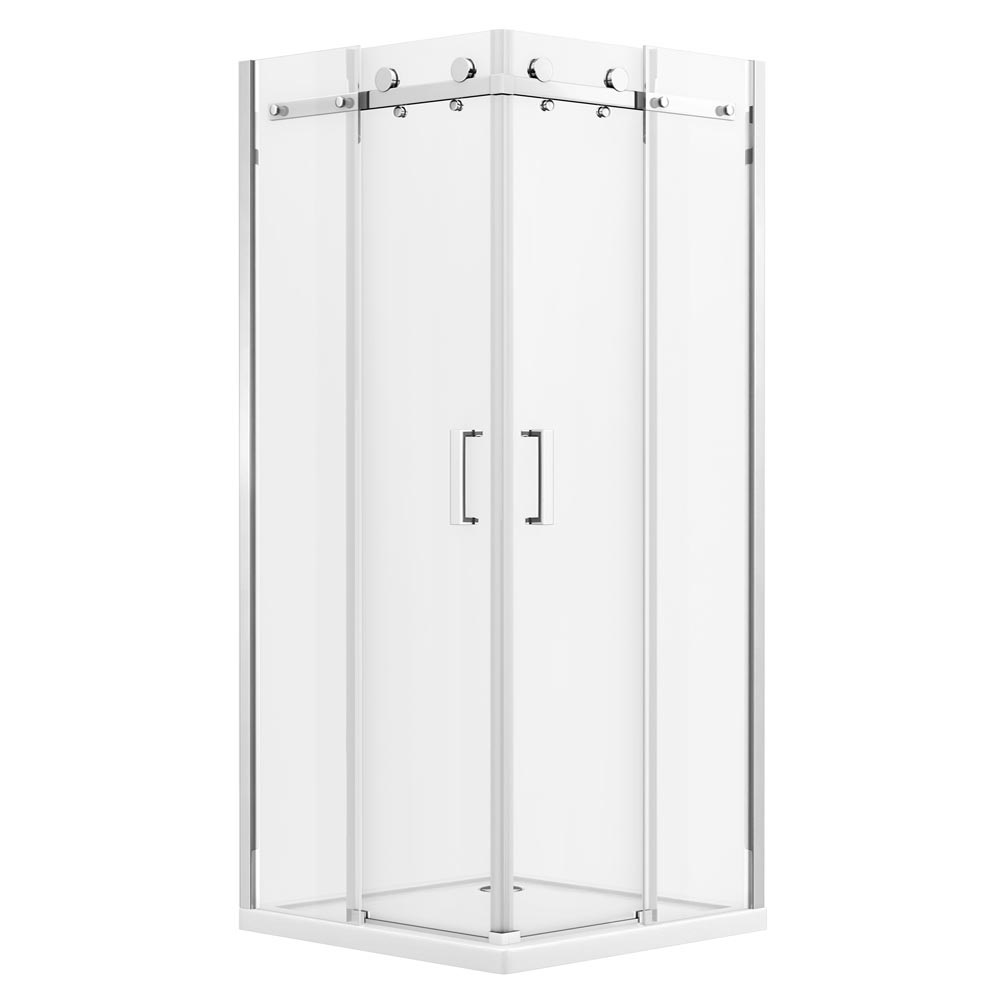 Orion Square 900 x 900mm Frameless Corner Entry Shower Enclosure profile large image view 2