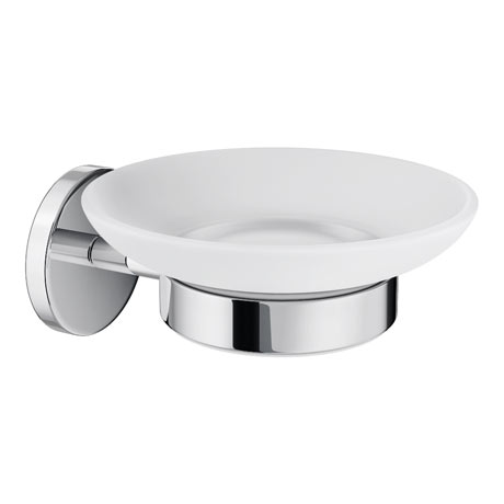 Orion Frosted Glass Soap Dish & Holder - Chrome