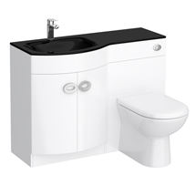 Orion Black Modern Curved Combination Basin and WC Unit - 1100mm Medium Image