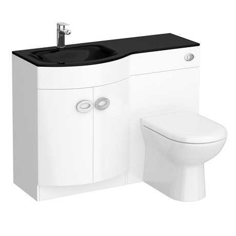 Orion black modern curved combination basin wc unit victorian plumbing for Bathroom combination vanity units