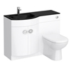 Orion Black Modern Curved Combination Basin and WC Unit - 1100mm Small Image