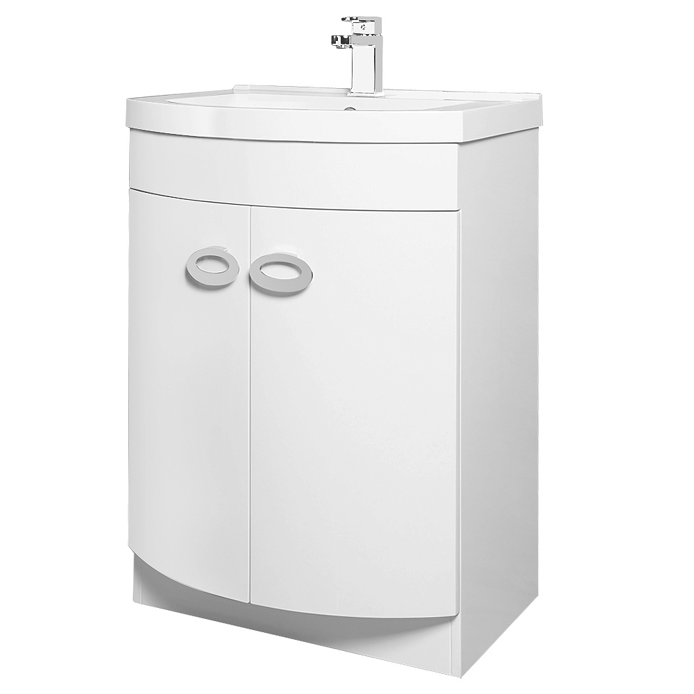 Orion Modern Curved Floor Standing Unit with Basin (W600xD460mm) Large Image