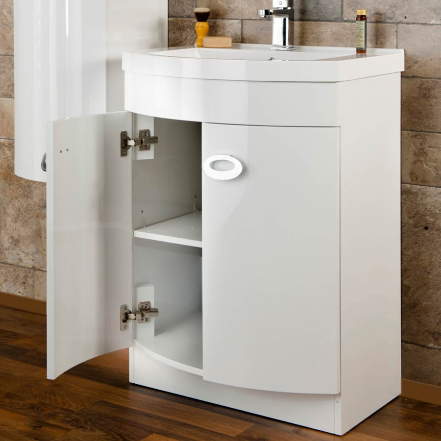 Orion Modern Curved White Gloss Vanity Unit + Tall Side Cabinet  In Bathroom Large Image
