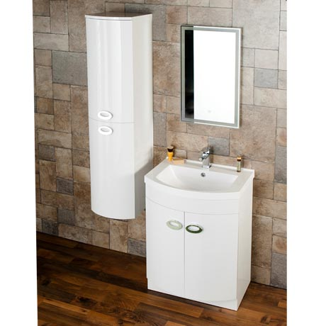 Orion Modern Curved White Gloss Vanity Unit with Tall Side Cabinet