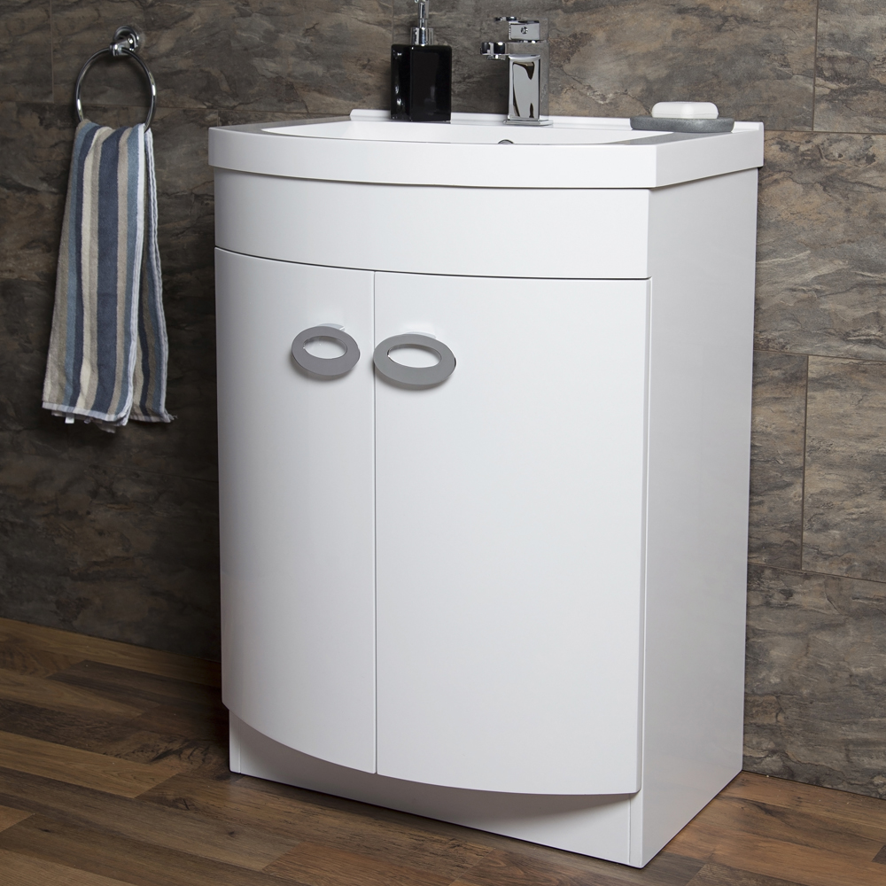 Orion Modern Curved Floor Standing Unit with Basin (W600xD460mm) profile large image view 2