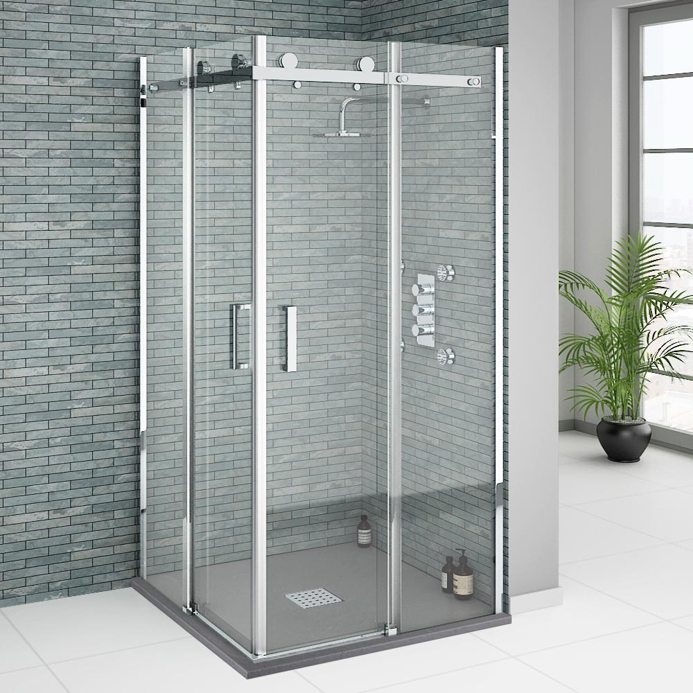 Orion Square 900 x 900mm Frameless Corner Entry Shower Enclosure profile large image view 1