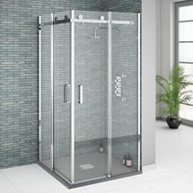 Orion Square Frameless Corner Entry Shower Enclosure - 900 x 900mm Medium Image