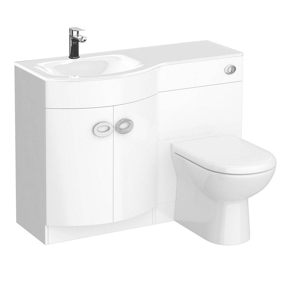Orion White Modern Curved Combination Basin and WC Unit - 1100mm Large Image