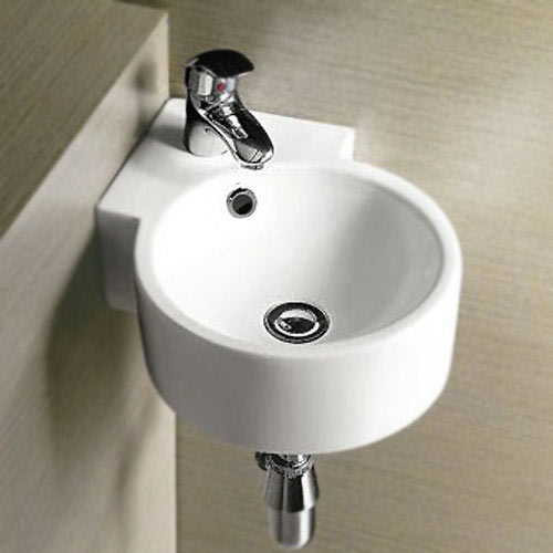 Othello Round Wall Hung Corner Basin 1TH - 305 x 435mm profile large image view 2