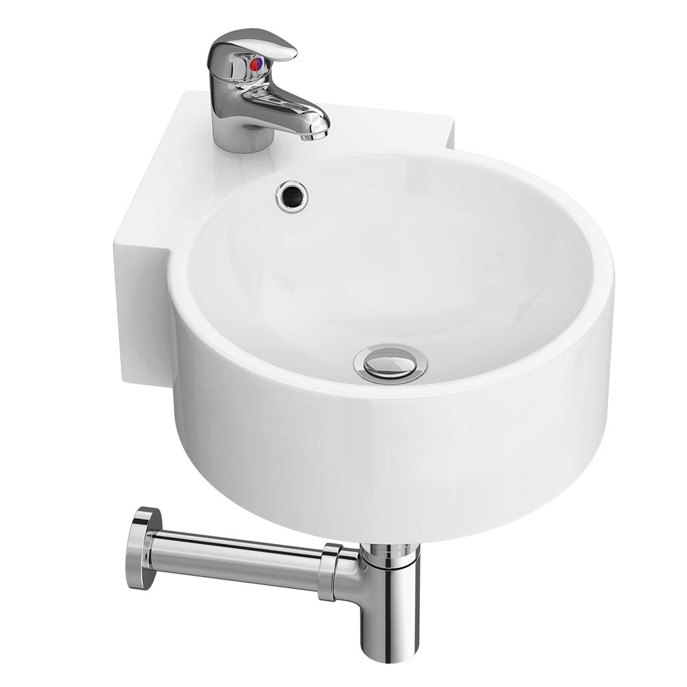 Othello Round Wall Hung Corner Basin 1TH - 305 x 435mm profile large image view 1
