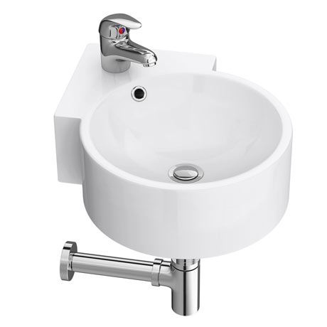 Othello Round Wall Hung Corner Basin 1TH - 305 x 435mm