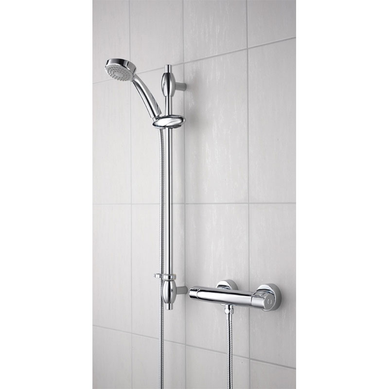 Bristan - Oval Thermostatic Surface Mounted Bar Shower Valve w/ Adjustable Riser Large Image