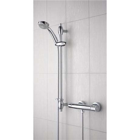 Bristan - Oval Thermostatic Surface Mounted Bar Shower Valve w/ Adjustable Riser